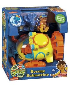 Fisher-Price Diego'S Rescue Submarine by Fisher-Price. $69.92. More Diego fun. The submarine has a pose-able gripper claw and a sea scoop to help Diego on his underwater rescues. Diego's Rescue Submarine brings Diego's animal rescues under the sea. The sub features rolling wheels, a cockpit that opens to accomodate Diego, animal storage under the cockpit and of course it will work in the tub. An undersea styled Diego and octopus are also included. From the Manufacturer          ...