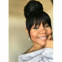 Bun With Bangs Great Hairstyles, Hairstyles With Bangs, Weave Hairstyles, Girl Hairstyles, Wedding Hairstyles, Black Hairstyles, Hairstyles Pictures, Summer Hairstyles, African American Updo Hairstyles