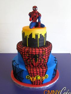Spiderman on Roof Top Cake - CMNY Cakes