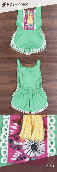 Baby girl romper Baby Girls Ethnic Style, Sleeveless, Tassels, Backless, Floral Romper. Tassels are yellow. One Pieces