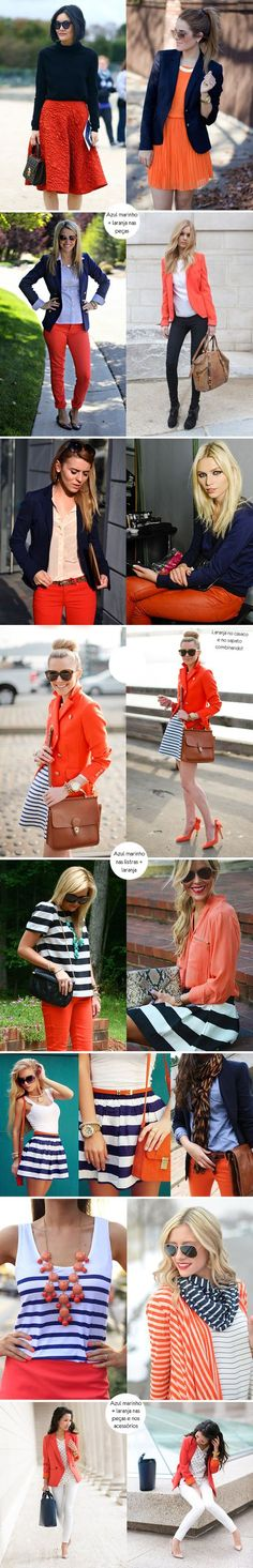 Inspiração como usar look azul marinho + laranja