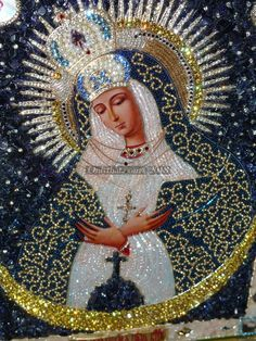 Mother Of God Of Ostrobram - Our Lady Of Ostrobrama - This is a lithographic printed icon, 17.5см x21.5см / 6.9 inches x 8.5 inches (without a kiot). - Incrustated with beads #13-16, manufactured by Jablonex – Preciosa (Czech Republic) and by Miuyki (Japan), cannetille, truntsal (silver and gold thread), different forms and sizes of Swarovski crystals (around 2500 crystals were used), black aventurine, pearls, gold 985 stamp (chain and cross). Swarowski chatons (sizes 0.5mm-8mm / 0.2-3.1inc