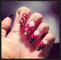 My friends nails.. Polka dots and bows :) Nail design, acrylics, nail art
