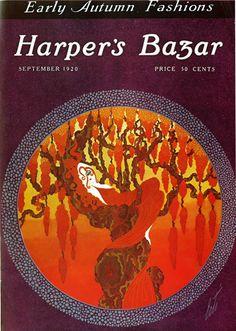 Harper's Bazar - Autumn by Erte Art Nouveau, Erte Art, Art Deco Artists, Vintage Art Prints, Fashion Wall Art, Art Deco Period, Fantastic Art, Art Deco Design, French Artists