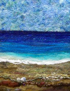 "11 x 14"" needlefelted wool on felt with art yarns from www.jazzturtle.etsy.com and www.prettytwists.etsy.com and some felted pebbles :)"