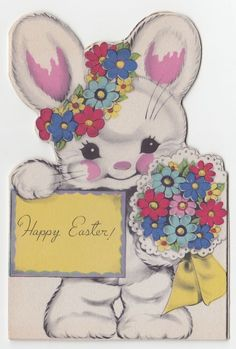 Vintage Greeting Card Easter Rust Craft Bi-Fold Die-Cut Bunny Rabbit 1940s Cute