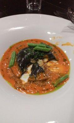 Sharksteeth… Lobster squid ink raviolo, Bolognese, piquillo lobster bisque, blue lake, gremolata, herb oil Scallop, requinto beans, English peas, summer squash, rhubarb, dill oil, mint mascarpone – pimento cheese, brioche Albacore, crab, green papaya, charcoal chicken...