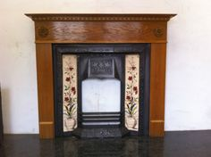 Reclaimed Victorian Style black cast iron tiled insert with oak veneer surround. A working fire suitable for a living room or can be used as a decorative piece. Collection is preferred due to the weight. Fireplace Accessories, Architectural Antiques, Victorian Fashion, Cast Iron, Fire Places, Living Room, Architecture, Wood, Ebay