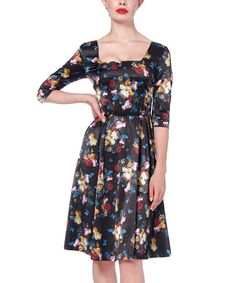 Look at this Black Floral Old Masters A-Line Dress on #zulily today!