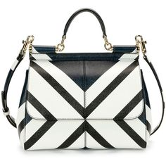 Dolce & Gabbana Miss Sicily Medium Geo-Stripe Satchel Bag ($2,615) ❤ liked on Polyvore featuring bags, handbags, zipper flap purse, striped purse, white satchel, satchel purse and flap purse