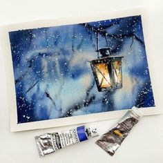 A gorgeous by Nadja Leutloff (Nadja Bakx-Trimbos.leutloff) of a warm fiery lantern shedding warm light in a cold holiday snowstorm. You have trudged through the biting Watercolor Landscape, Watercolor Paintings, Watercolor Illustration, House Illustration, Easy Watercolor, Watercolors, Painting Inspiration, Art Inspo, Painting Techniques