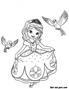Princess Sofia the First Coloring Pages Coloring Pages For Girls, Cartoon Coloring Pages, Coloring Pages To Print, Free Coloring Pages, Coloring For Kids, Printable Coloring Pages, Coloring Books, Coloring Sheets, Disney Princess Coloring Pages