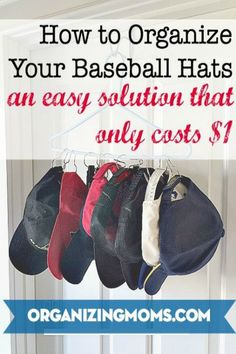 Organize baseball hats and caps in a small space for only $1.00 ~ genius!