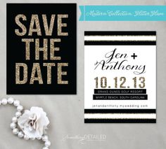 GLITTER GLAM Modern Save the Date  Gold Black by SomethingDetailed, $1.85