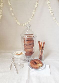 Dreaming up fall cocktail ideas. Paired with donuts? Yes please! @Janet Russell-Snider Bridal #fallcocktails #100layercake