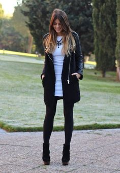 White dress over black tights! winter outfit!