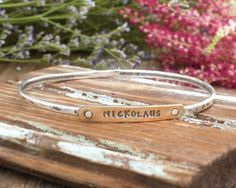 Stamped Name Bangle Bracelet in Sterling Silver. by NelleandLizzy