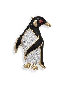 14 Karat Gold Plated Penguin Pin