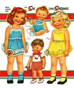 Six Little Steppers Paper Dolls