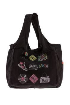 Durable canvas tote bag with charcoal fleece patch front and Rhinestone dance applique. Pockets on both sides and inside tote.   Dance Tote Bag by Butter Super Soft. Bags - Totes Long Island