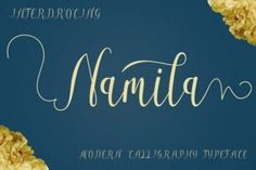 http://Namila is a handwritten script font by Jhoen Studios. This stunning font is completely drawn by hand and contains many alternate characters with stunning swashes. The font is PUA encoded.