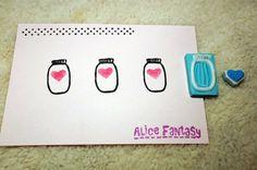 Milk bottle & heart handmade rubber stamp by AliceFantasy on Etsy