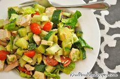 Chopped chicken, bacon and avocado salad