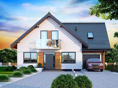 Projekt domu z poddaszem Galilea BIS o pow. 133,75 m2 z garażem 1-st., z dachem dwuspadowym, z tarasem, sprawdź! Modern Bungalow House, Bungalow Exterior, Bungalow Renovation, Simple House Design, House Front Design, Modern House Design, House Roof, Facade House, Philippines House Design
