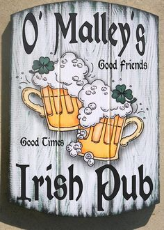 Irish Pub Sign, Personalized Hand Painted Tavern Sign with Irish Theme Personalized NO additional charge! You choose Top Line, Last name, Nick