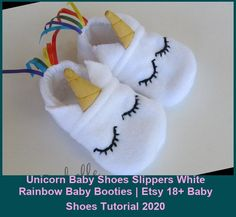 These Unicorn Baby Shoes will not only keep your baby's feet warm and cozy, they are adorable, too! The elastic around the heal is remarkably effective at keeping the shoes on baby's feet. Great for every day use or as an addition to a Halloween costume. Would make an awesome stocking stuffer or gift. Sewn by me out of soft fleece with hand sewn details, rainbow ribbon tail, and lined with cozy flannel. Can be made with white non-slip soles if baby shoes tutorial Unicorn Baby Shoes
