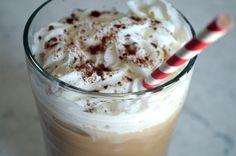 Iced Coffee w/ Coconut Milk Whipped Cream. Sprinkled w/ Cinnamon & Raw Cacao Powder (Dairy-Free, Refined Sugar-Free)