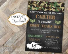 INSTANT DOWNLOAD - Army Birthday Invitation - Army Tank Camo Camouflage Birthday Invite - Boy Birthday