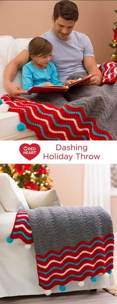 Dashing Holiday Throw Free Crochet Pattern in Red Heart Yarns -- Here's a striking wavy ripple pattern to enjoy all winter long. Whether on the sofa, a cozy chair or in the bedroom, this design combines puff stitches and basic crochet stitches in modern style. Optional pompoms add a festive holiday vibe.