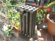Tall Square Primitive Tin Tapered Candle by MyLittleSomethings, $80.00