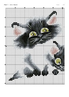 Cross-stitch Playful Kitties, part 1  ... no color chart available, just use pattern chart as your color guide.. or choose your own colors...