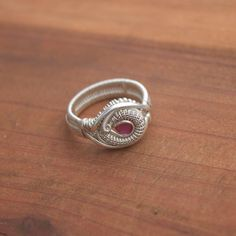 Size 8 1/2 ruby wire wrapped ring // tendai designs