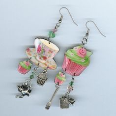 cupcake and tea cup earrings  pink and green  by DesignsByAnnette