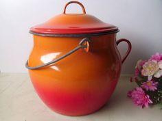 French enamel cooking pot casserole dish. Antique French enamelware orange enamel cookware, kitchenware. Enamel kitchen.