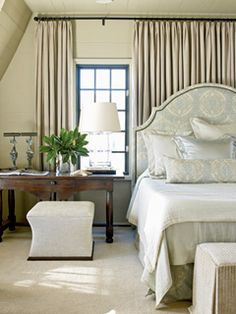 Very beautiful bedroom #bedroom décor, beds, headboards, four poster, canopy, tufted, wooden, classical, contemporary bedroom, nightstand, walls, flooring, rugs, lamps, ceiling, window treatments, murals, art, lighting, mattress, bed linens, home décor, #interiordesign bedspreads, platform beds, leather, wooden beds, sofabed