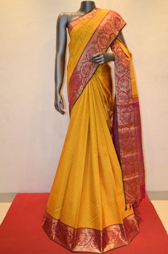 Kanjeevaram Silk Saree With Jacquard Design - Yellow Product Code: AA206713 Online Shopping: http://www.janardhanasilk.com/Kanjeevaram-Silk-Saree-With-Jacquard-Design-Yellow?search=AA206713&description=true