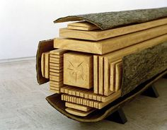 """Photo: Geoffrey CottenceauWhen a sawmill did that to timber, you get lumber. But what happens when an artist made the object you see above from polystyrene and resin? Art, my friend, that is art. Behold, """"Billon"""" by Vincent Kohler: Link - via Core Into The Woods, Wood Projects, Woodworking Projects, Woodworking Plans, Learn Woodworking, Popular Woodworking, Project Projects, Woodworking Equipment, Woodworking Machinery"""