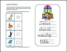 Listening Pages for Non-Readers - Mamas Learning Corner Bible Activities For Kids, Bible Lessons For Kids, Church Activities, Bible For Kids, Toddler Sunday School, Sunday School Lessons, School Fun, Kids Notes, Childrens Sermons