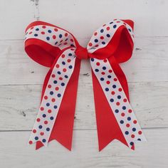 "6"" Grosgrain Patriotic Tail Double Bow Hair Clip Big Hair Bows, Bow Hair Clips, Types Of Bows, 4th Of July Celebration, Love Hair, Hair Type, Grosgrain, Little Girls, Hair Accessories"