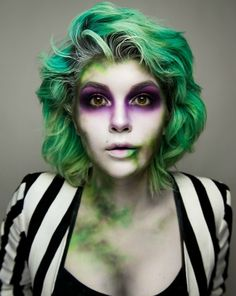 Wow wow wow! Look how amazing this beetlejuice look is! I'd love to recreate this using some wash out hair colour, some deep purple shadows and a stripey costume too. A look to put your own twist on to make it as simple or complex as you like!