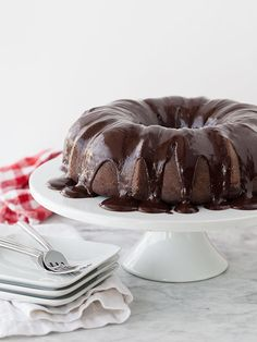 Bundt cake with chocolate espresso ganache