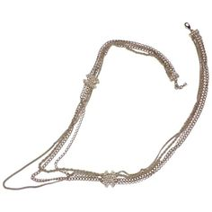 Preowned Stunning Chanel Long Multi Chains Necklace Pearls And Cc Logo ($2,943) ❤ liked on Polyvore featuring jewelry, necklaces, grey, long chain necklace, chanel necklace, pearl ribbon necklace, multiple strand pearl necklace and pearl necklaces