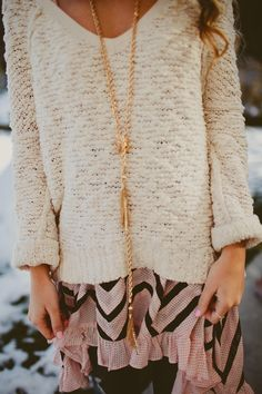 luv the sweater layering the dress.