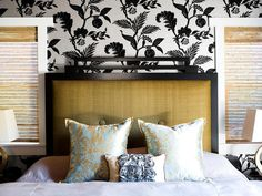 VALENCICH WALLPAPERED BEDROOM HEADBOARD_ i like the wall paper for the bedroom. Maybe even for a living room?