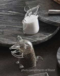 Holiday Gift Guide 2011: Our Roost Mouse Salt and Pepper Shakers are made of borosilicate glass. Super cute on any table, these little guys are great for everyday use. A sweet little gift, we love them filled with Velvet Sea Salt and fresh ground pepper.