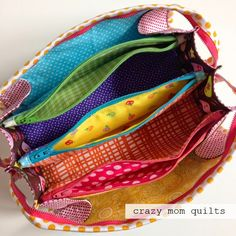 super cool zipper pouch with lots of zipper compartments (link to the pattern in post)